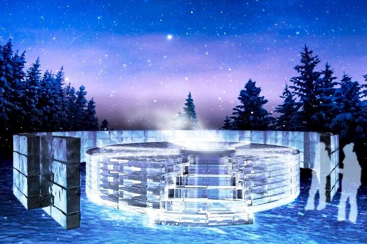 【トマム】氷のホテル_氷の露天風呂CG